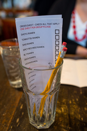 Order form at KANSUI in Willow Glen