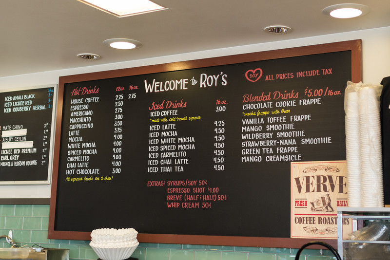 The menu at Roy's Station